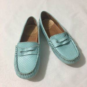 Umi baby blue toddler girl leather loafers